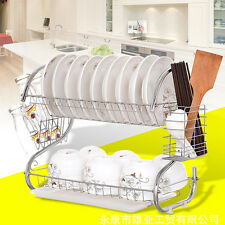 2 Tiers Kitchen Dish Cup Drying Rack Drainer Dryer Tray Cultery Holder Organizer
