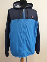 C141A MENS FILA WHITE LINE BLUE LIGHTWEIGHT FULL ZIP HOODED JACKET UK M EU 50