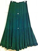 """VINTAGE - NEW - Tiered BOHO MAXI SKIRT by ACTION WEAR USA Waist 28""""-32"""" Made USA"""