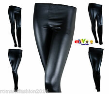 Sexy Ladies High Waist Black Shiny Wet Look Faux Leather Full Length Legging New