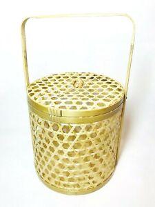 "8.5"" Bamboo Basket Gift Container Chalorm Thai Craft Handmade Wickerwork Decor"