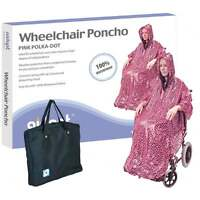 Wheelchair Rain Cover Warm Dry Poncho Waterproof Cape Hood Universal Pink + BAG