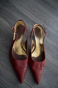 Vintage Dolce Gabbana Burgundy Office Evening Shoes Size 38 1/2