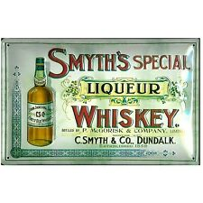 SMYTH'S  SPECIAL IRISH WHISKY :EMBOSSED(3D) METAL ADVERTISING SIGN 30x20cm