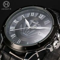 AgentX Mens Stylish Black Dial Stainless Steel Date Leather Fashion Quartz Watch