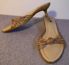 LUICHINY Italy Beige Leather Inner Soles & Strapy Tops Low Slide Sandals 10M EUC
