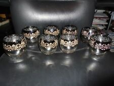 SET OF 8 1960'S VITREON QUEEN SILVER FADE LUSTERWARE ROLY POLY GLASSES OMBRE