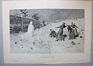 """Wintervergnügen """" Schneeballschlacht """" Grosser Stich nach Hans Dahl um 1890"""