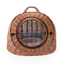 Wicker pet dog cat animal basket portable transporter carrier GB FREE SHIPPING