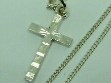 PRETTY SOLID SILVER NEAT SMALL CROSS PENDANT ON 14'' CHAIN - CHILD