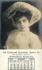 Cleveland Electrical Supply Company, Lovely Lady, August 1907 Calendar OH RPPC