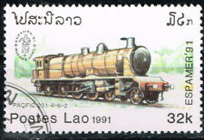Laos Railroad old Locomotive stamp 1991