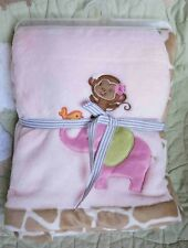 Carter's Pink Polyester Plush Baby Girl Blanket w Appliqued Elephant Monkey Bird