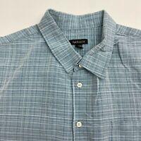 Van Heusen Button Up Dress Shirt Men's 18-18.5 Short Sleeve Blue White Plaid