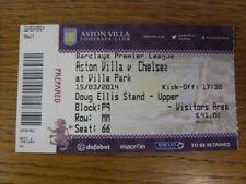 15/03/2014 BIGLIETTO: Aston Villa V Chelsea. se questo oggetto è eventuali difetti che sho