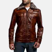 New genuine sheep leather fur collared men's jacket brown superdry's style coat
