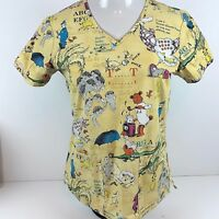 Dr Seuss Scrub Shirt Top Womens XS Vet Tech Kids Nurse Uniform Storybook