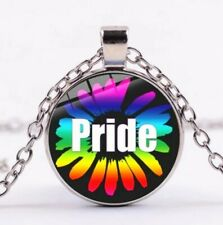 Halskette Blumen LGBT Pride Anhänger Regenbogen Lesbisch Gay Trans Schmuck
