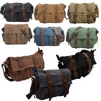 MUCHUAN Men's Vintage Canvas Leather School Shoulder Bag Messenger Sling CrT6Q4
