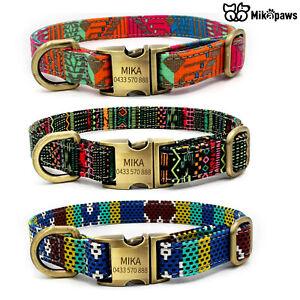 MIKAPAWS Adjustable Personalised Dog Collar with Engraved ID Custom Dog Collar