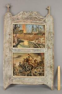 2 Antique WWII Folk Art Paintings Evacuation of Dunkirk & Hand to Hand Combat