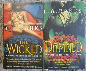 L.A. BANKS VAMPIRE HUNTRESS DAMNED WICKED URBAN FANTASY PARANORMAL 2 BOOK LOT PB