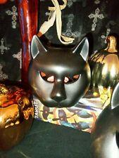 Set of 2 Porcelain Black Cat Head Votive Holders