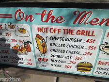 ON THE MENU 1950's 50,s 60,s diner COOL Retro old school Advertising burgers egg