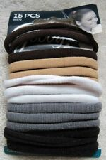 15 Goody Ouchless Gentle Fit Soft Fabric Terry Elastic No Metal Hair Bands Java