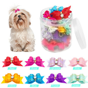 50/100pcs Cat Dog Hair Bows Rhinestone Ribbon Grooming Accessories New Wholesale