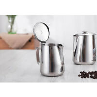 Latte Art Milk Frothing Steaming Pitcher with Lid Stainless Steel 600ml