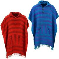 Vegan Wool Square Hooded Poncho with Toggles Hill Queen Cape Festival Hoodie