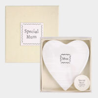 East of India White Porcelain Square Coasters with Beautiful Messages