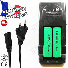 2 PILES ACCUS RECHARGEABLE 18650 3.7V 4000mAh + CHARGEUR TR-001 TRUSTFIRE RAPIDE