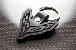 Handmade Leather Keychain Keyring for Chevrolet Corvette C8