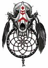 """""""BGR"""" Temporary Tattoo, Wolf Skull w/ Large Fangs  Feathers  Dream Catcher"""