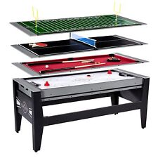 Lancaster 4 in 1 Combo Swivel Arcade Table, Air Hockey Pool Ping Pong Football