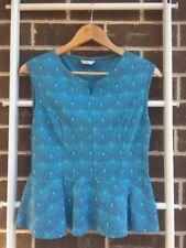 Lovely METALICUS Blue Shell Print Sleeveless Peplum Top SZ 8 10 S EUC