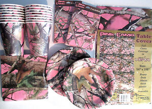 PINK HUNTING CAMO Birthday Party Pack Supply DELUXE Kit w/ Invites & Reusable TC