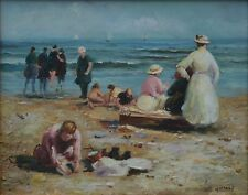"""Lovely Spanish impressionist on Panel """"Family on a Beach"""" Signed Andres"""