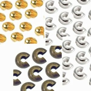 50 X CRIMP COVER BEADS CHOOSE 3mm 4mm 5mm SILVER GOLD OR BRONZE COLOUR BD7