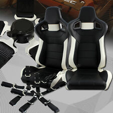 Black/White Stitch Leather Sport Racing Seat + 5-Point BLK Seat Belt Universal 1