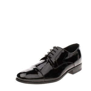 RRP €145 PREMIERE MAISON Leather Derby Shoes EU42 UK8 US9 Patent Made in Italy