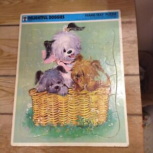 Vintage 1968 Rainbow Works Delightful Doggies #75908-1 Frame Tray Puzzle VGC