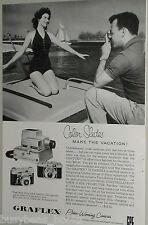 1958 Graflex ad, Graphic Century camera, bathing beauty