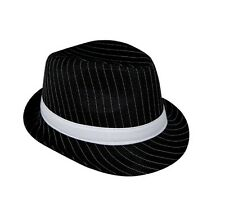 Costume Party Accessory 1920s Gangster Gatsby Fedora Trilby Hat Black Pinstripe
