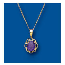 "Amethyst Pendant Amethyst Necklace Yellow Gold Amethyst pendant  18"" Chain"