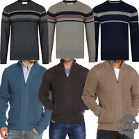 Mens Sweater Lambswool Crew Neck Zip Up Knitted Winter Jumper Pullover Sweat Top