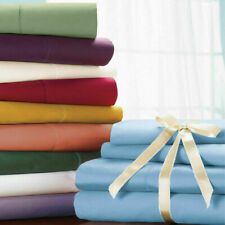 1000 Thread Count Cotton Deep Pocket Bedding Items Queen Size Solid Color