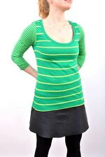 Hollister Womens Long Sleeved Striped Scoop Neck Top Stretch Green Yellow XS FAB